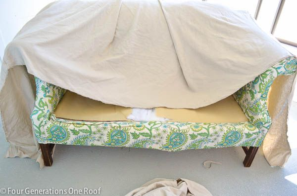 How To Reupholster A Couch No Sew Reupholster Couch