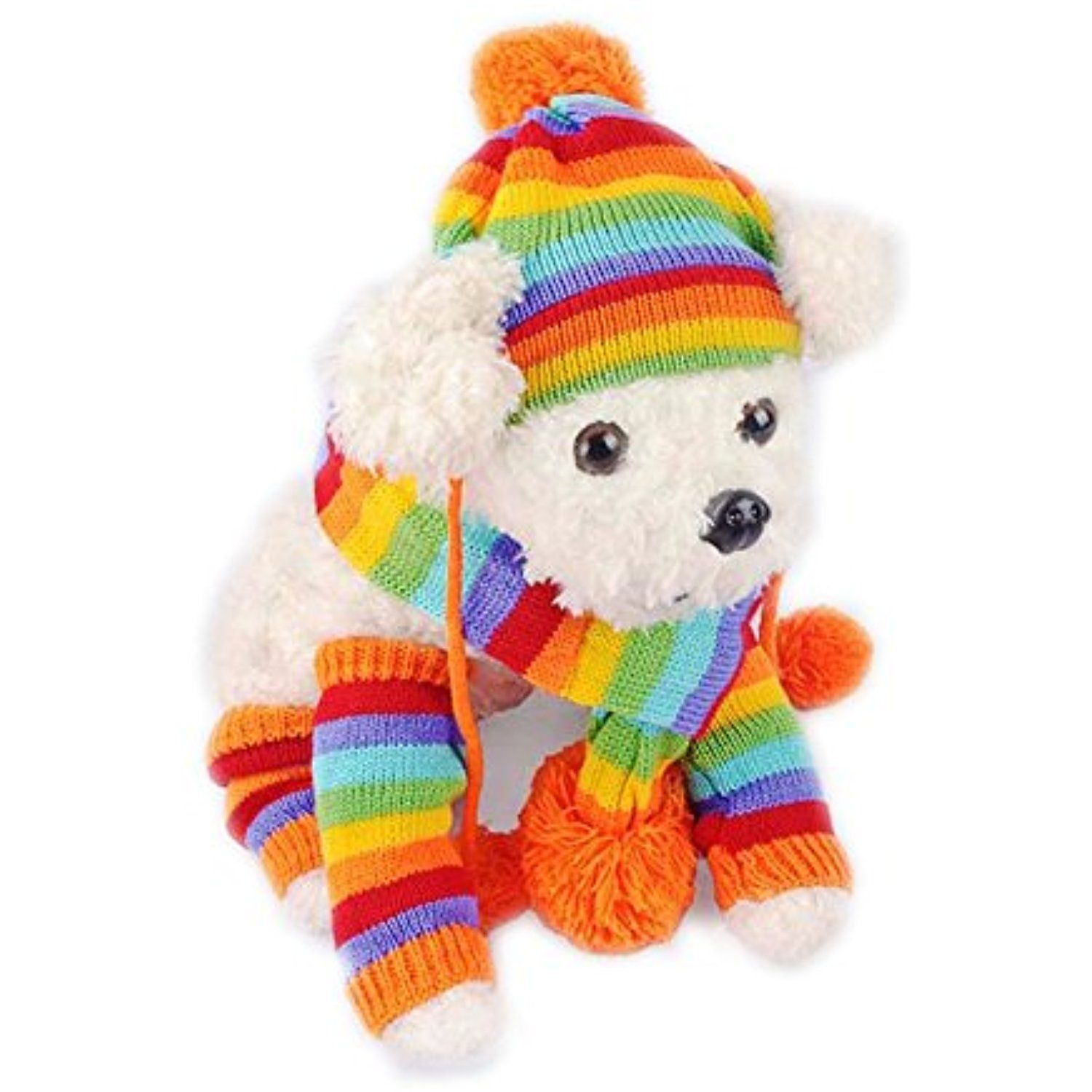 Petkuguo Pet Winter Knitted Hat Pom-Pom Scarf And Leg ...