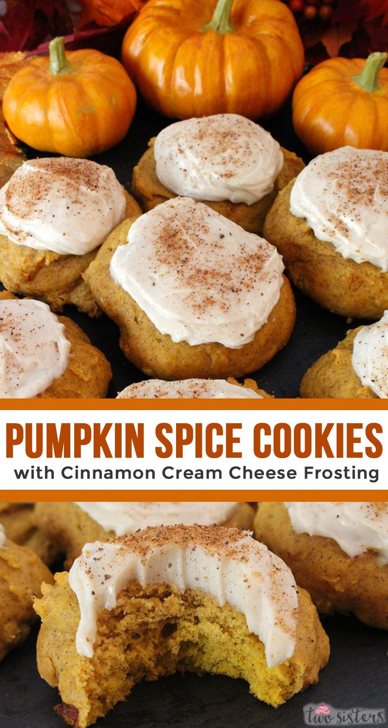 Pumpkin Spice Cookies with Cinnamon Cream Cheese Frosting - Two Sisters
