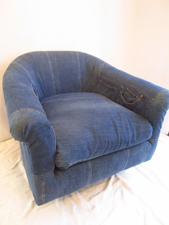 Blue Jean Glamour Furniture Denim Roll Back Swivel By Kalamaki, $595.00