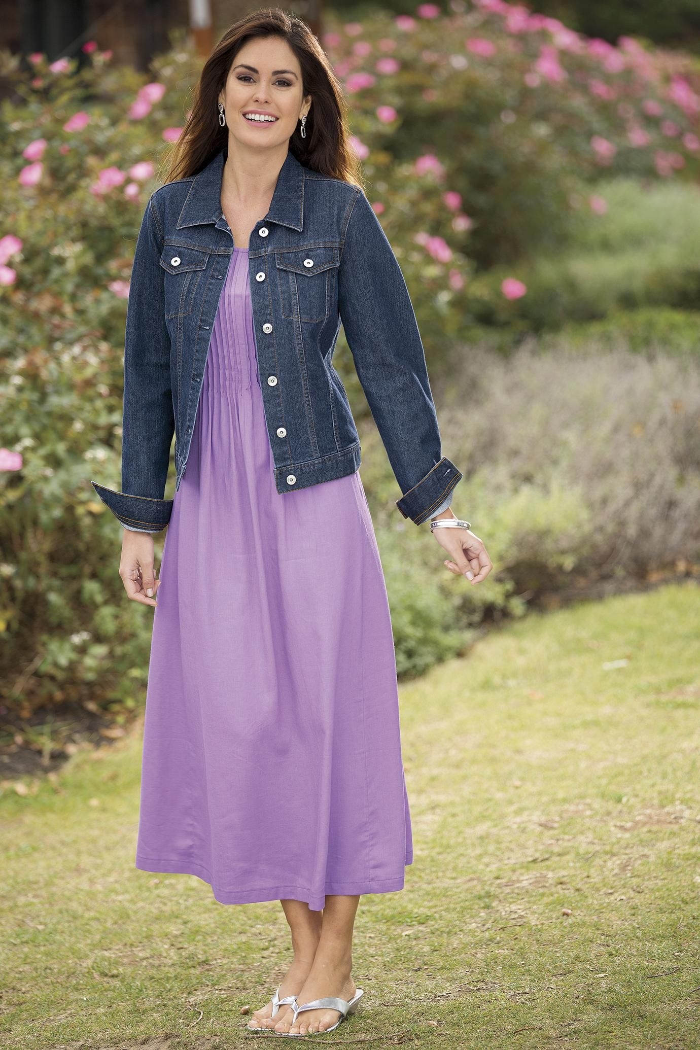 Pintucked Maxi Dress & Jean Jacket Misses | Chadwicks | Style ...