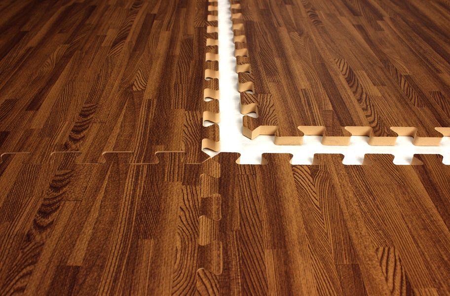 Interlocking foam mats that look like wood great for a