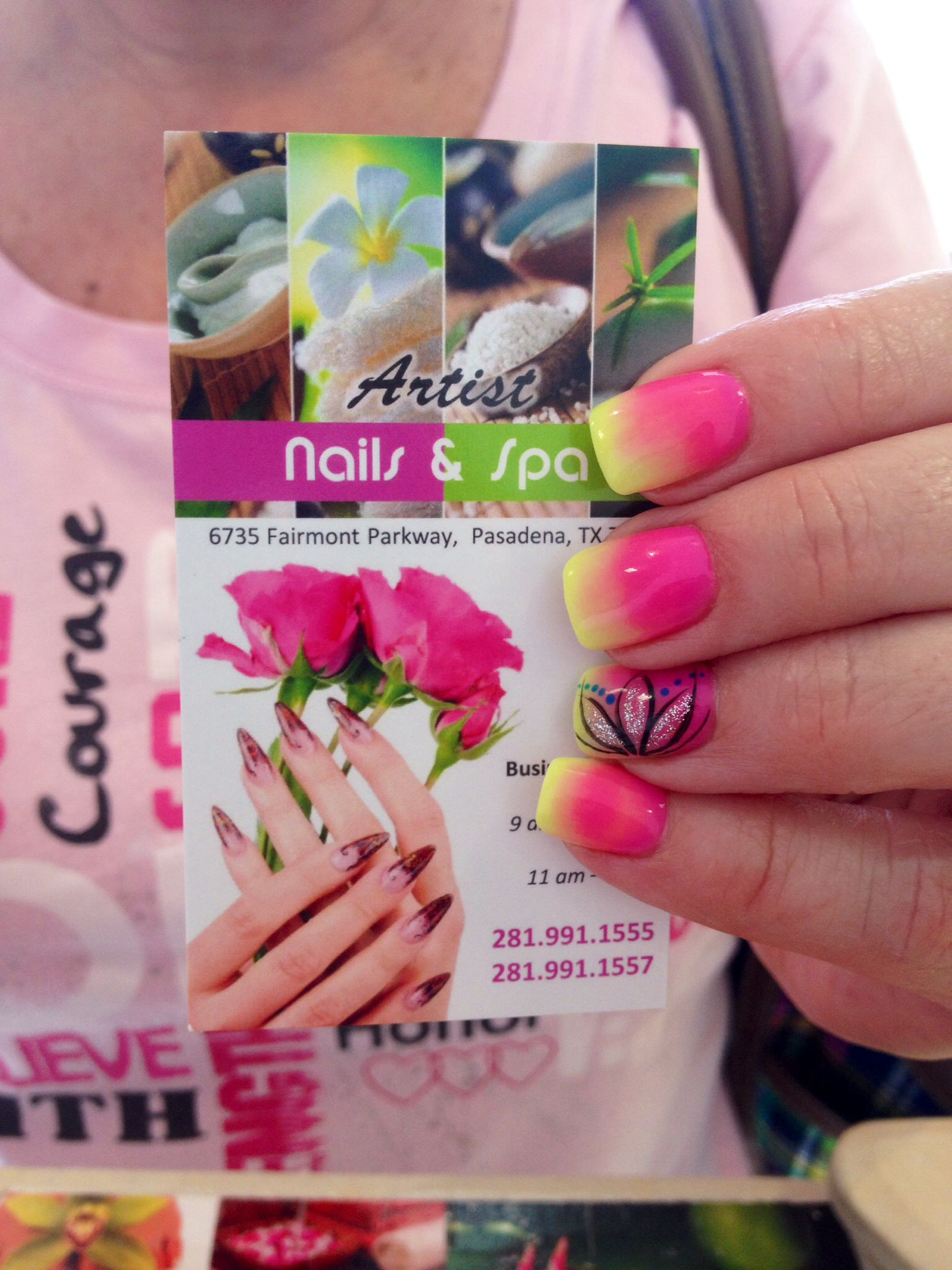 Neon pink and lime green ombré nails with flowers designs | ARTIST ...