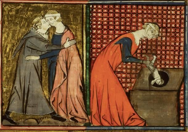 Things that may have taken place in the Priory. A medieval monk seduces a nun, who becomes pregnant and has an illegitimate baby. She sinfully disposes of the baby in the privy. From the Miracles de Notre Dame