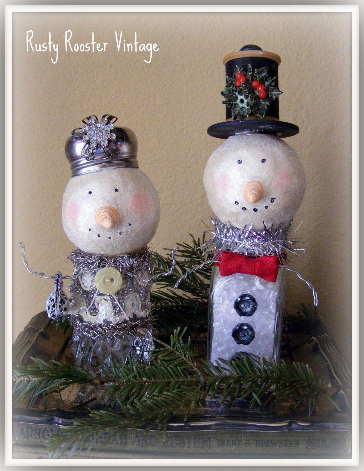 Snowmen Using Clear Saltpepper Shakers Cute - Handmade