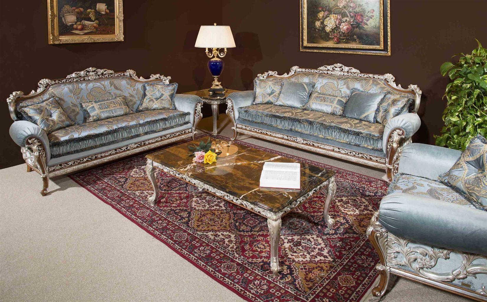 Baby Blue Sofa And Arm Chair Handmade In Europe Blue Sofa Luxury Living Room Decor Armchair