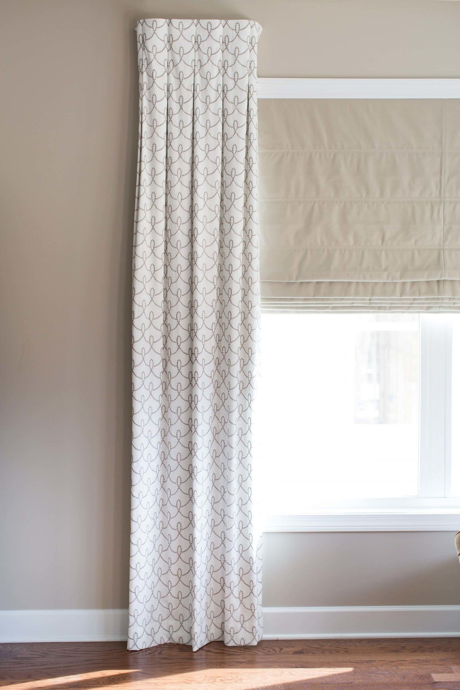 Inverted Flat Pleat Drapery Panel With No Rod Concealed Mounting