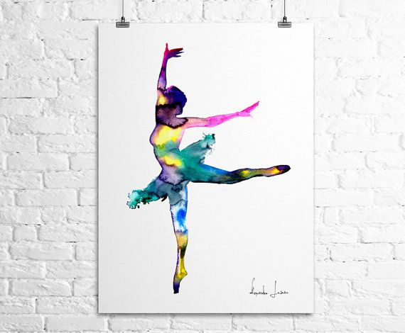 Watercolor Illustration  Ballerina Dancer Art by WatercolorPrint, $30.00