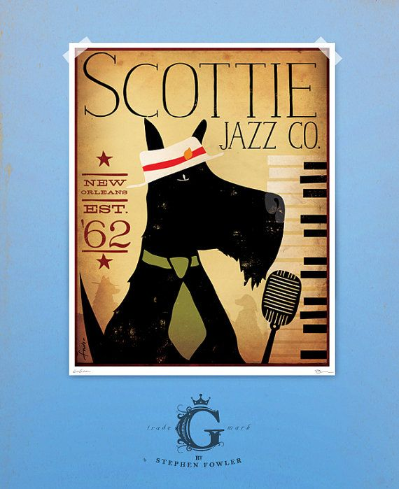 Scottie scottish terrier dog Jazz Bar original graphic illustration giclee archival signed print by Stephen Fowler