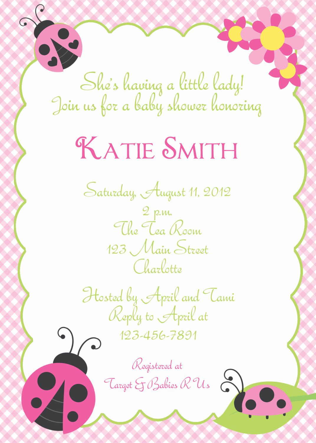 Ladybug Baby Shower invitation | Baby Shower Ideas | Pinterest ...