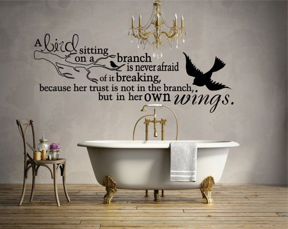 Bird on a Branch Wall Decal Quote Decals Bird by WillowRoseDecals