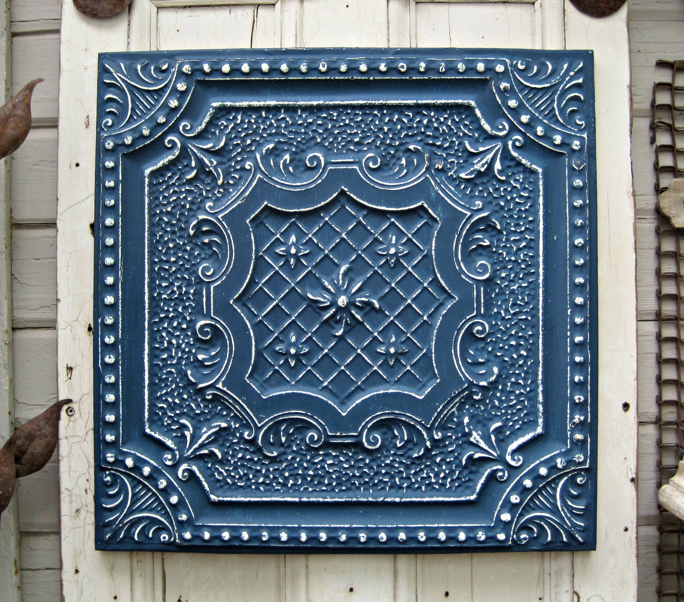 Tin ceiling tile texas architectural salvage indigo blue navy tin ceiling tile texas architectural salvage indigo blue navy blue large metal wall decor beach decor vintage blue wall art decor dailygadgetfo Image collections