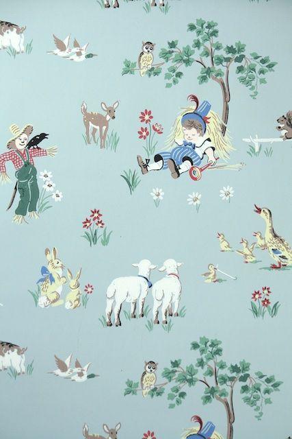 1950s Vintage Wallpaper Children's Wallpaper Nursery