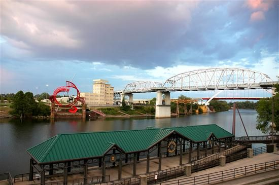 Riverfront Landing shed, Ghost Ballet, and the Pedestrian Bridge make three different-colored subjects connected to the Cumberland River.
