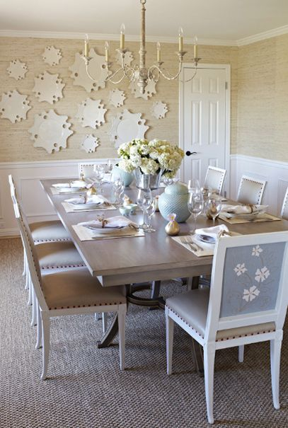Grass Cloth Wallpaper And Interesting Art In The Dining Room