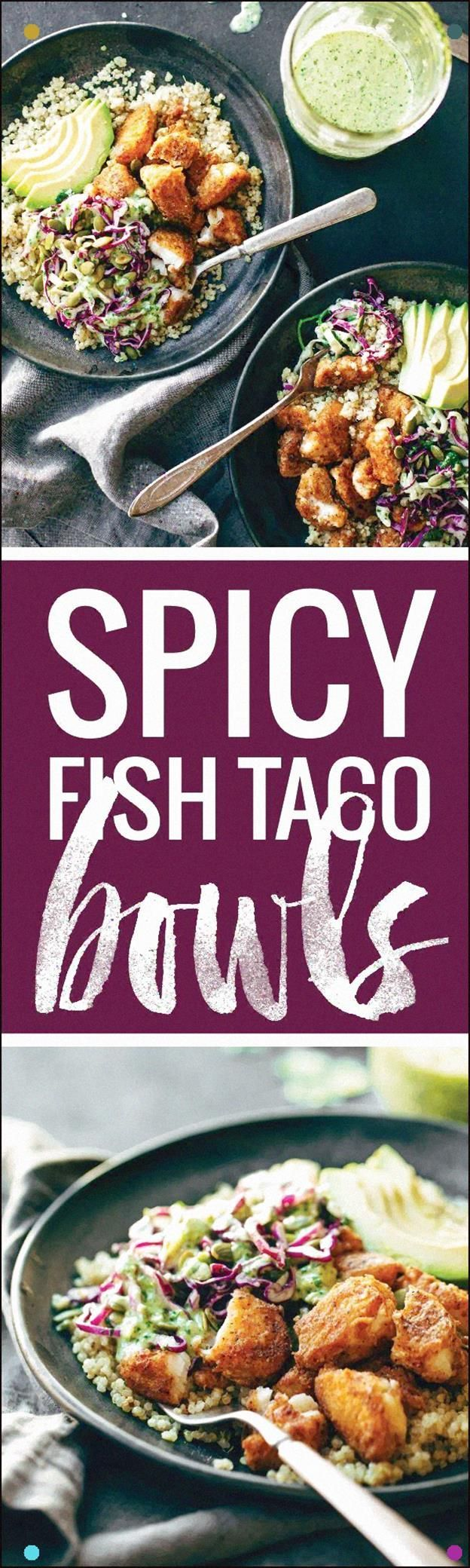 Spicy Fish Taco Bowls With Cilantro Lime Slaw - Crispy, Fresh, And So Yummy Quinoa, Slaw, Avocado, And Crispy Fish #cilantrolimeslaw Spicy Fish Taco Bowls With Cilantro Lime Slaw - Crispy, Fresh, And So Yummy Quinoa, Slaw, Avocado, And Crispy Fish #cilantrolimeslaw