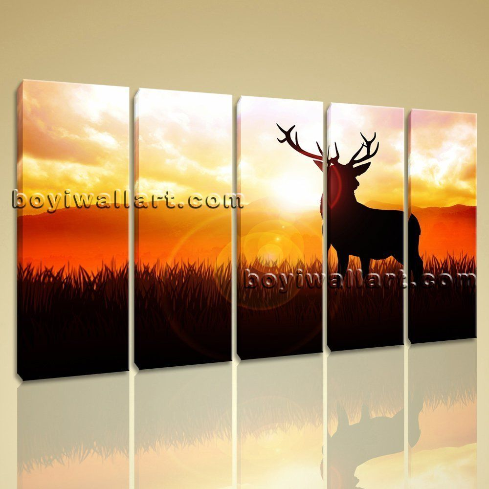 Large deer silhouette animal contemporary on canvas print wall art