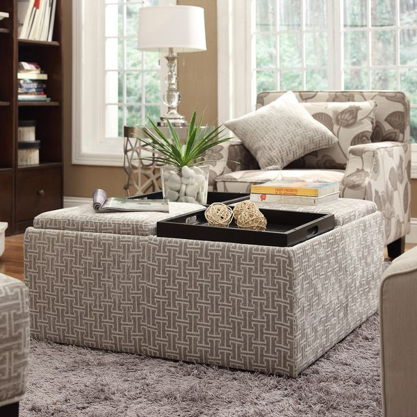 INSPIRE Q Montrose Grey Link Storage Cocktail Ottoman - Overstock™ Shopping - Great Deals on & INSPIRE Q Montrose Grey Link Storage Cocktail Ottoman - Overstock ...