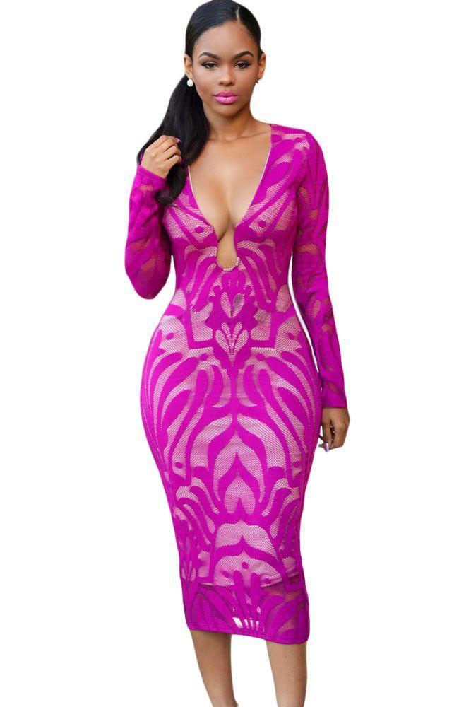 Fuchsia Lace Nude Dress | Me gustas y Vestiditos