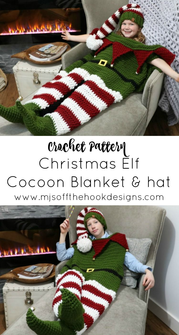 Christmas Elf Cocoon Blanket & Hat #christmascrochetpatterns