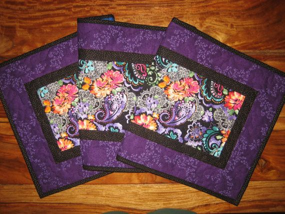 Quilted Table Runner in Purple, Blue, Orange and Pink Paisley with Lace