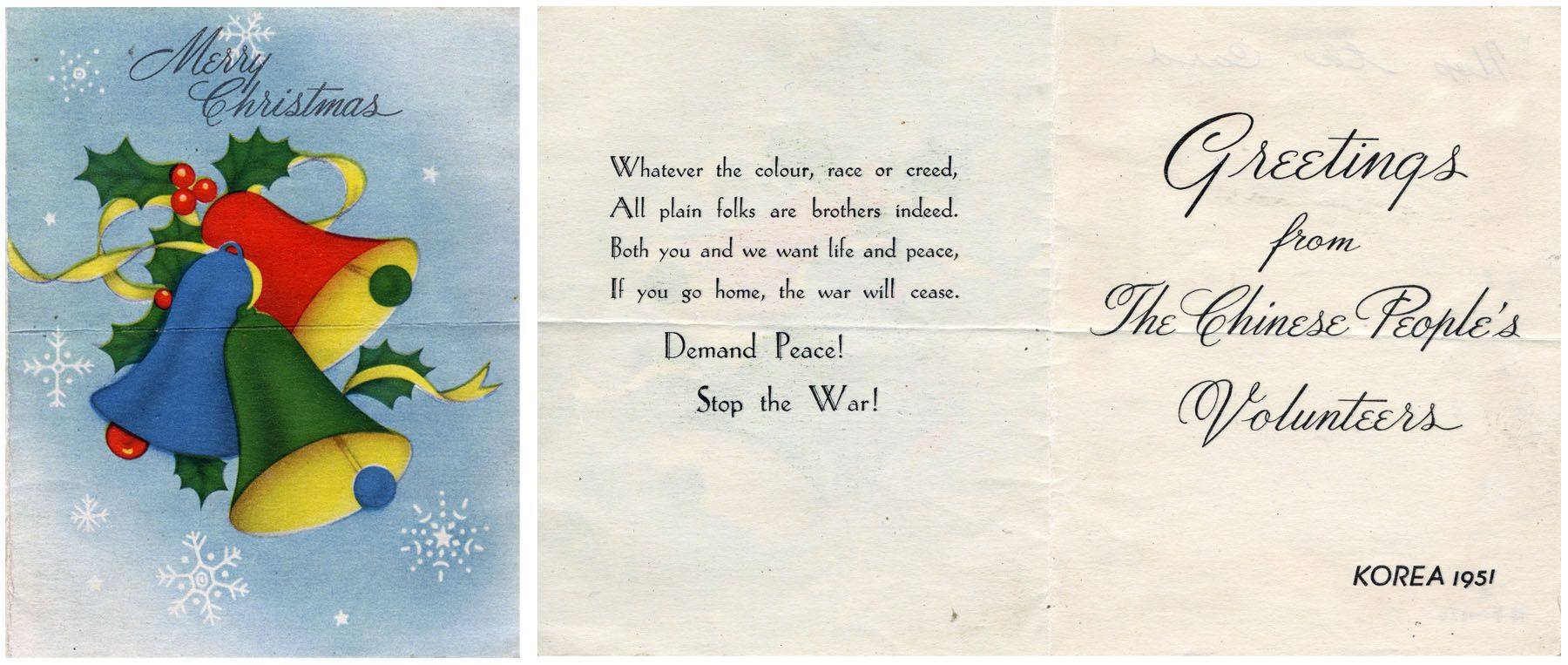 Korean war chinese propaganda christmas cards dropped to discourage korean war chinese propaganda christmas cards dropped to discourage united nations forces 1951 m4hsunfo