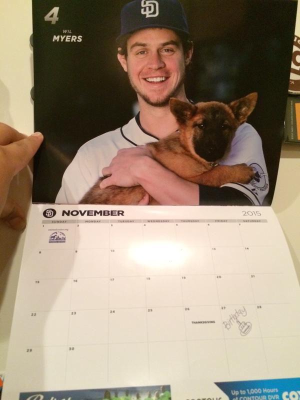 Wil + puppy in a calendar ♥