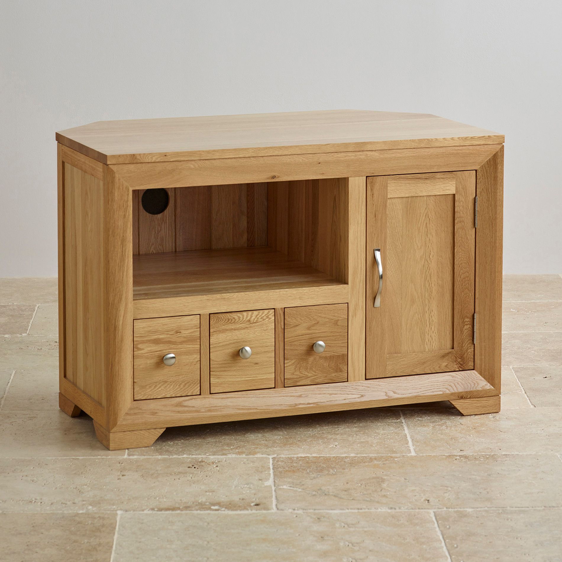 Bevel Natural Solid Oak Corner TV Cabinet | Corner tv cabinets ...