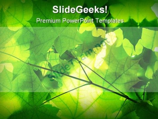 Green Leaves Nature PowerPoint Template 1110 #PowerPoint - nature powerpoint template