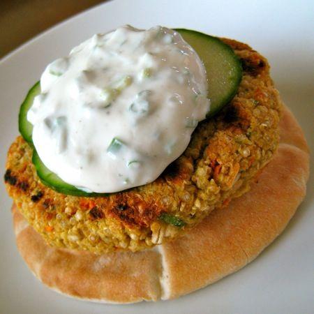 greek style quinoa veg burger with tzatziki. yummo.