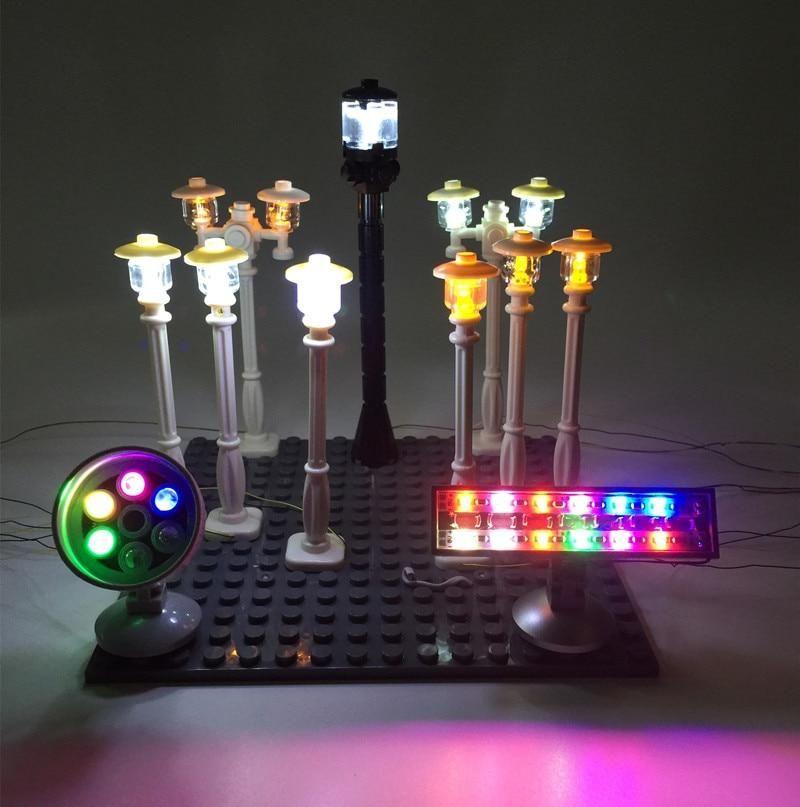 Led Lamp Post Street Light Spotlight And Traffic Lights For Lego City Series Led Light Kits Street Light Led Street Lights
