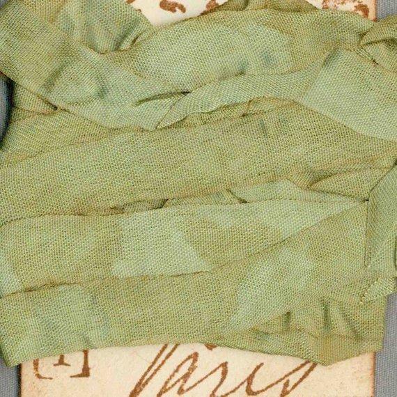 Seam Binding 5 Yards Tea Dyed Green Vintage Paris Tag Trim