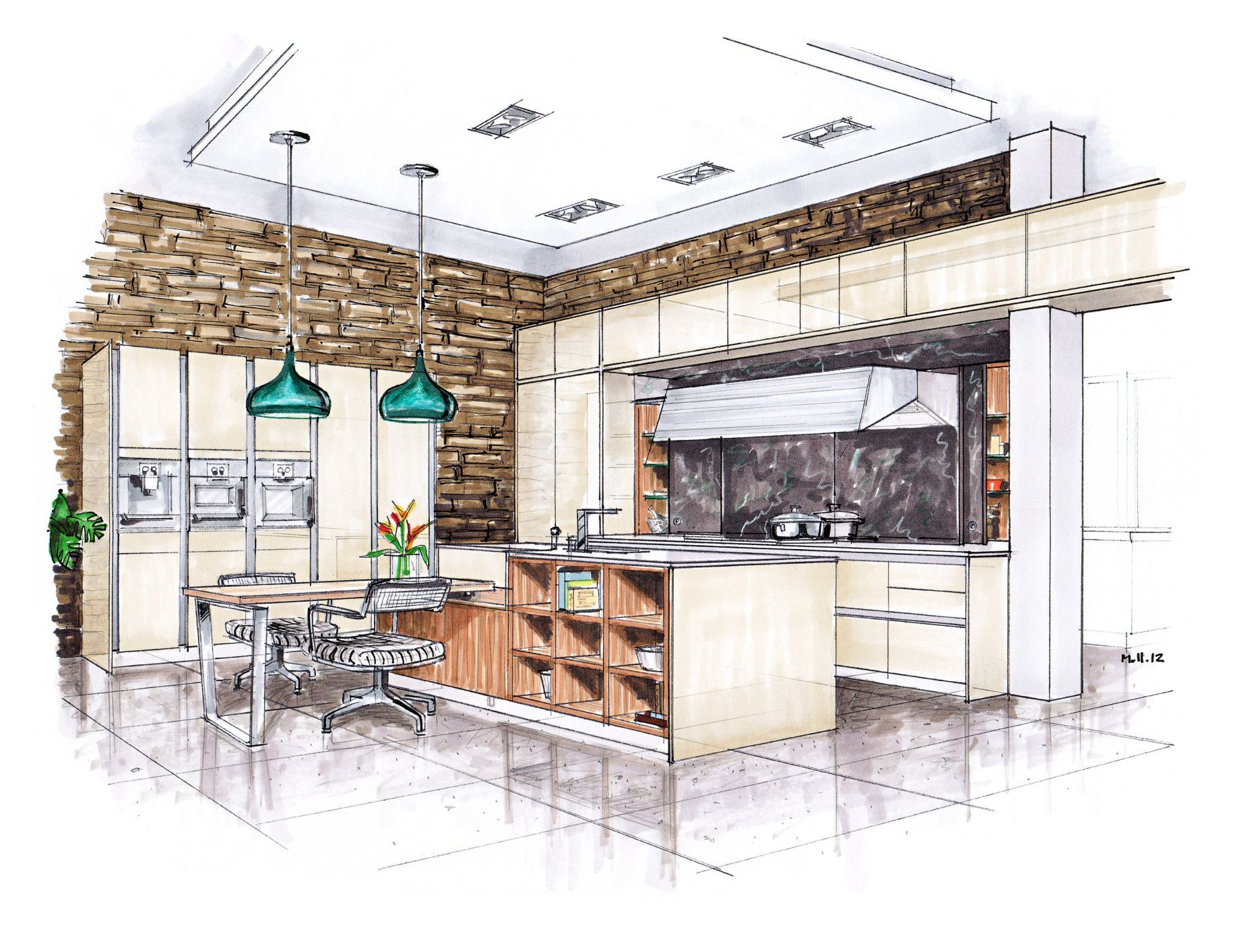 Main Kitchen Color Hand Rendering Interior Design Sketches