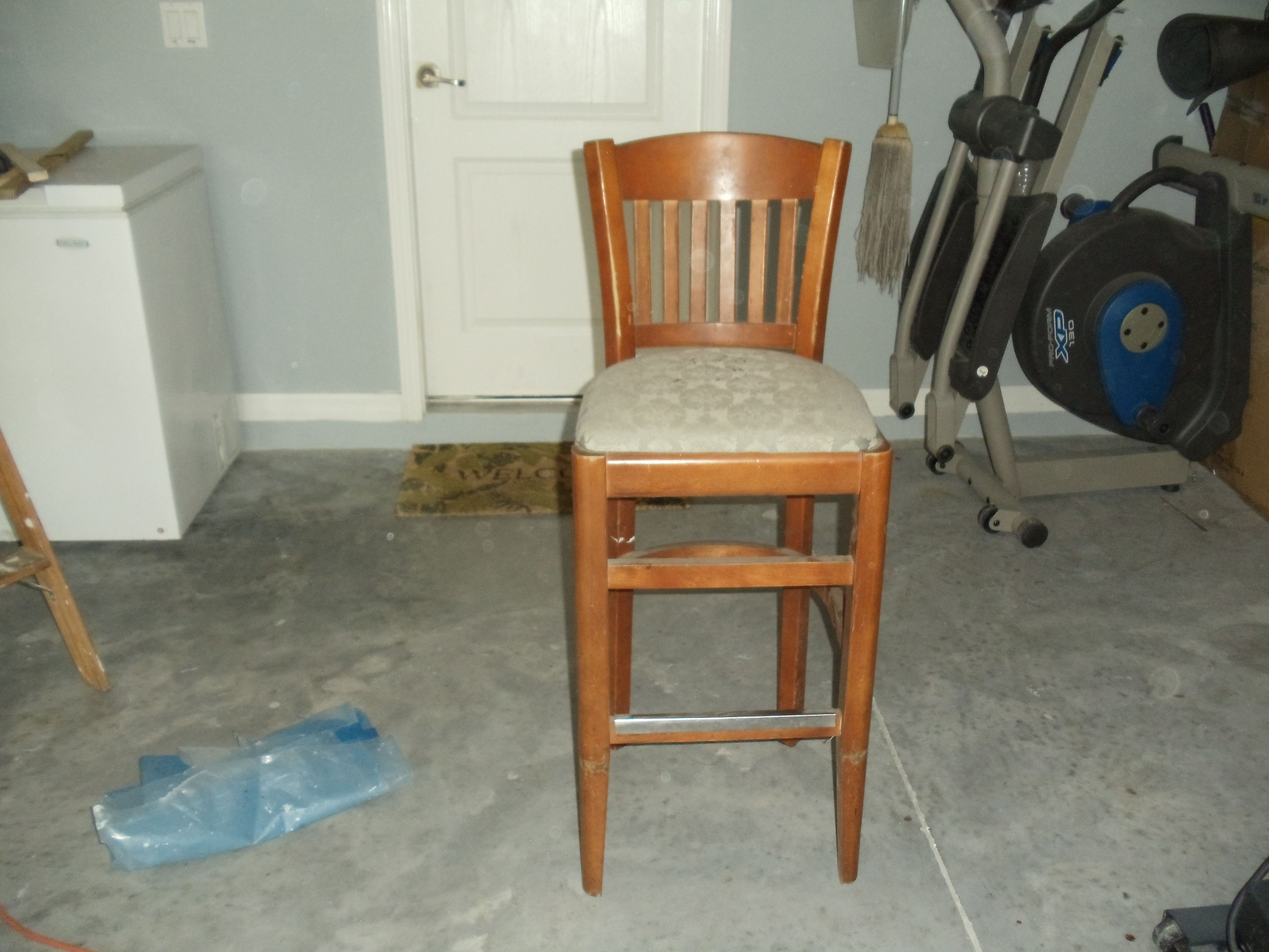 This is the before picture .Bought chair at a flea market for $10.00 . This is the before..
