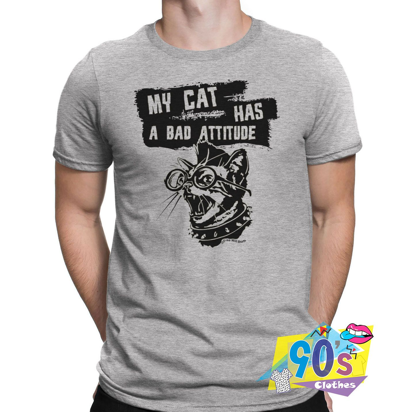 Funny My Cat Has A Bad Attitude Punk T shirt #adventlustigerster