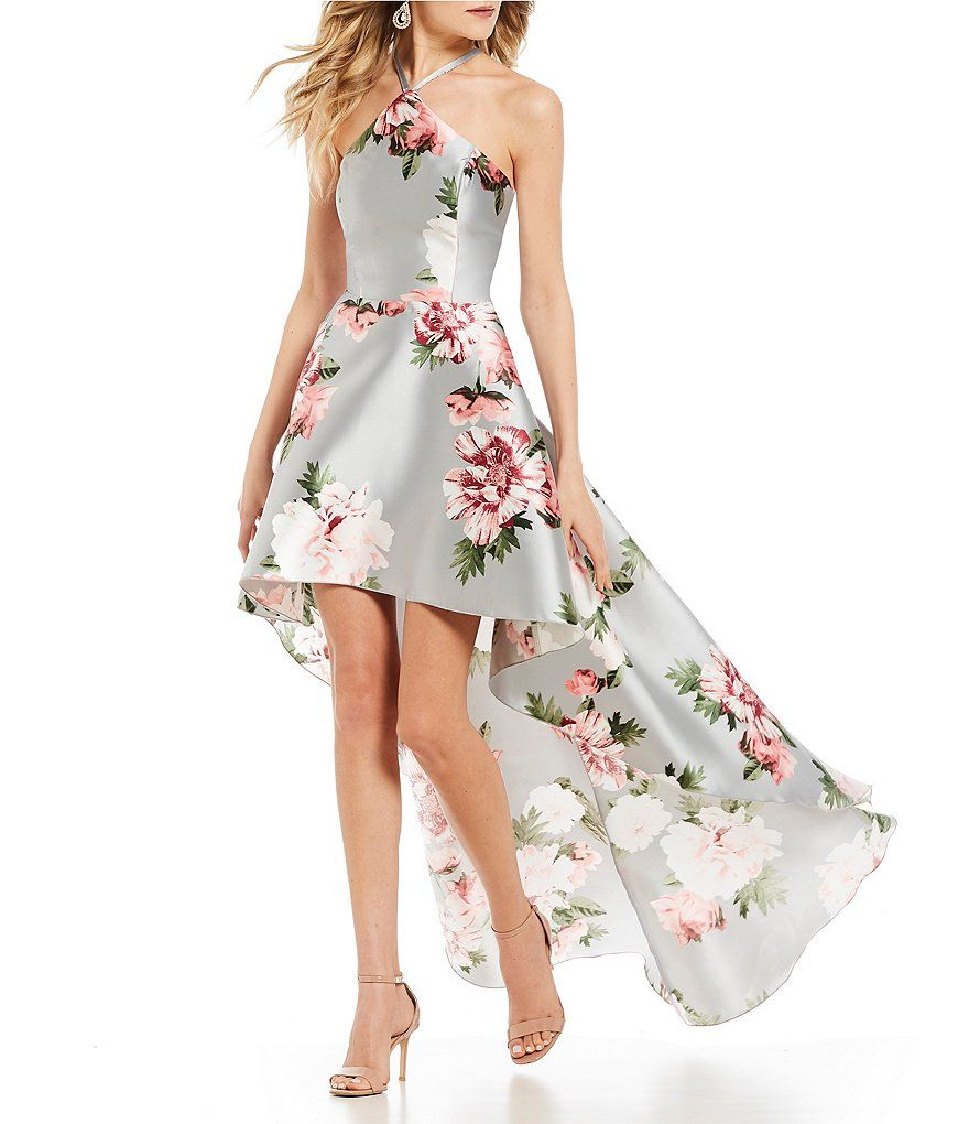 Xtraordinary yneck floral long highlow dress homecoming dresses