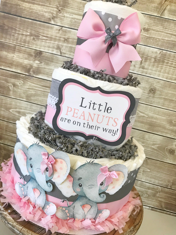 Little Peanut Diaper Cake For Girls Elephant Baby Shower