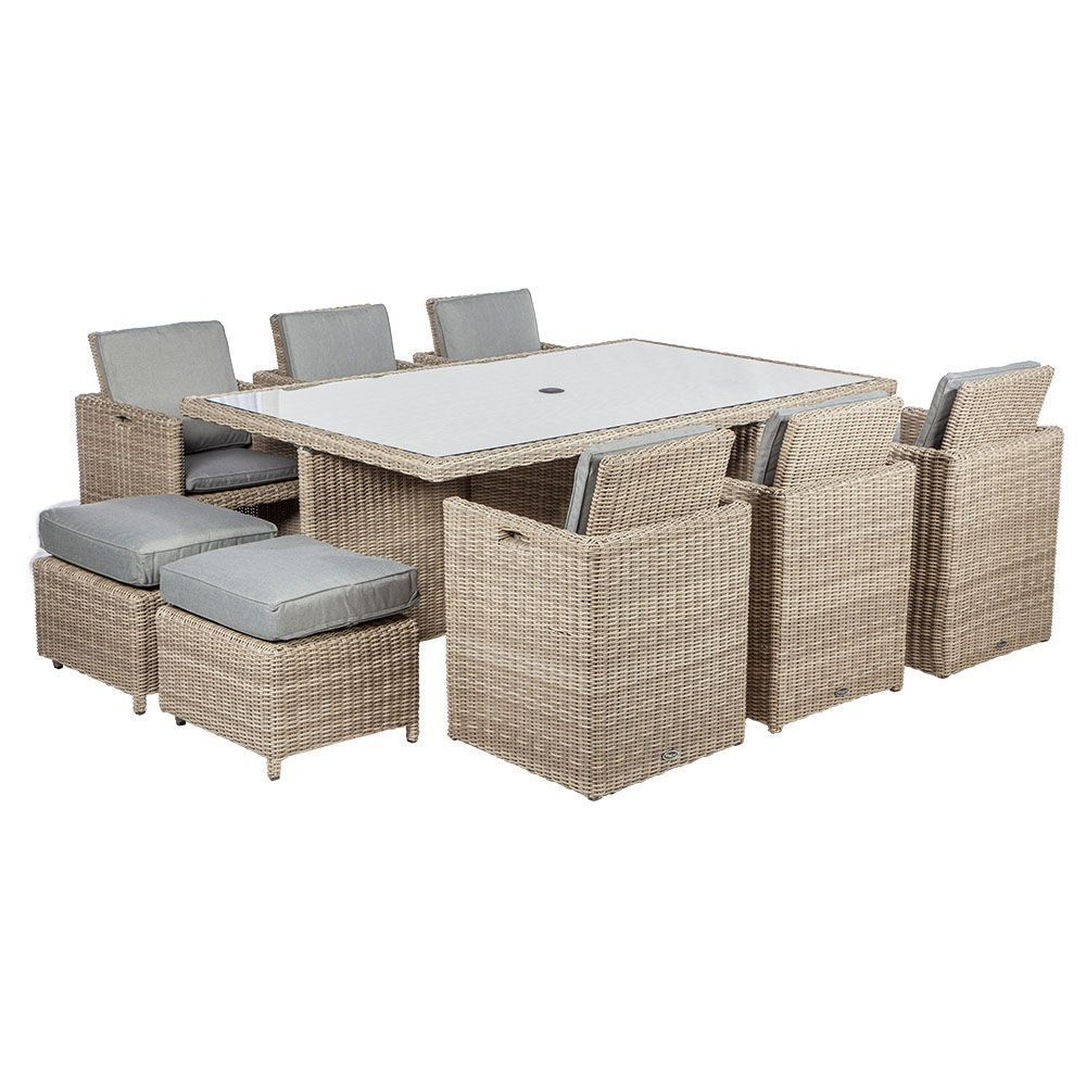 10 Seater Garden Dining Set Beige Rattan Aluminum Glass