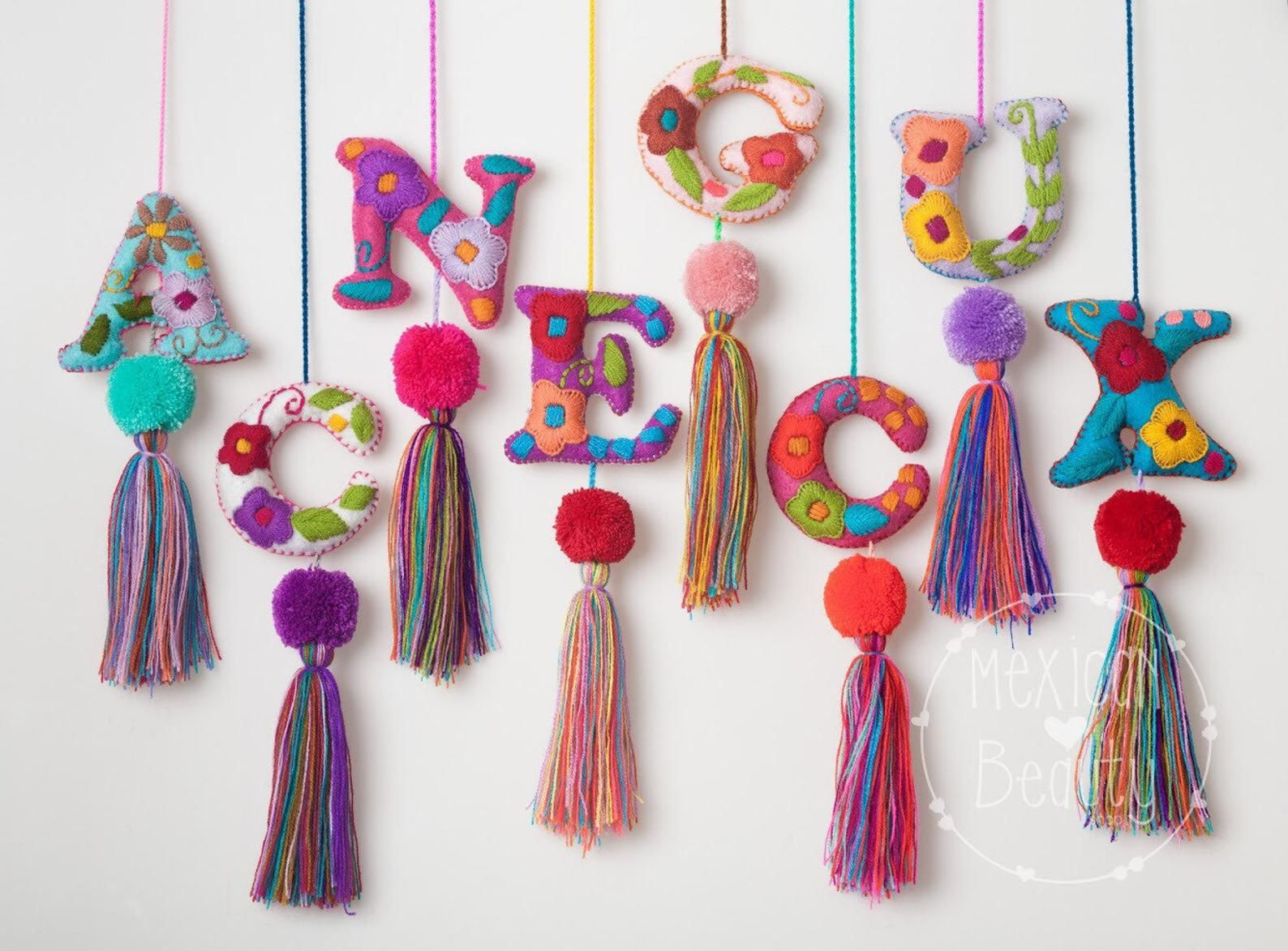 Personalized T Mexican Hand Embroidered Alphabet