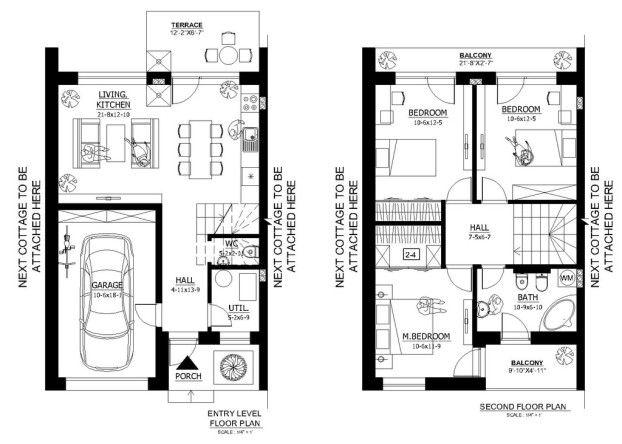 Plano De Duplex De 3 Dormitorios Con Garaje Planos De Casas Planos De Casa De Dos Pisos Casas De Dos Pisos Planos De Casas
