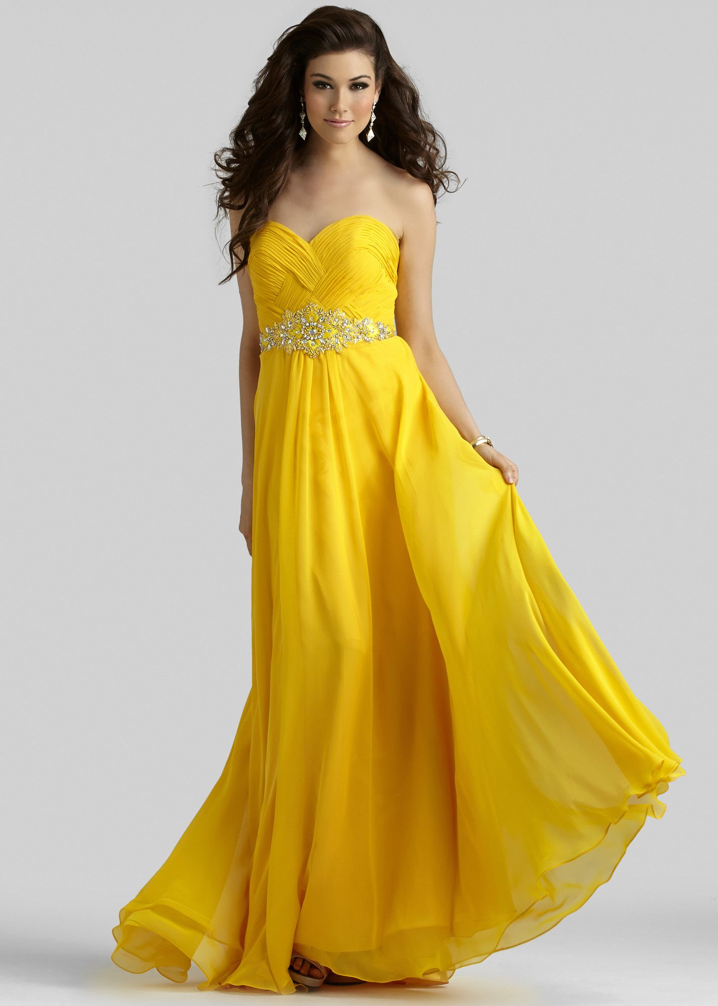 Clarisse 2108 Sunflower Strapless Chiffon Prom Dress Prom Dresses Yellow Cheap Prom Dresses Long Chiffon Prom Dress [ 2000 x 1429 Pixel ]