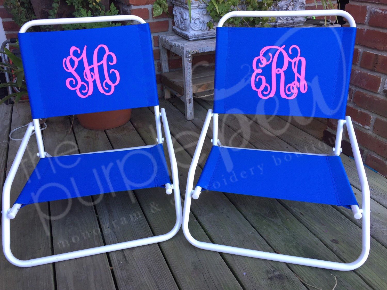 Monogrammed Beach Chair In Teal With Pink Thread Like Second