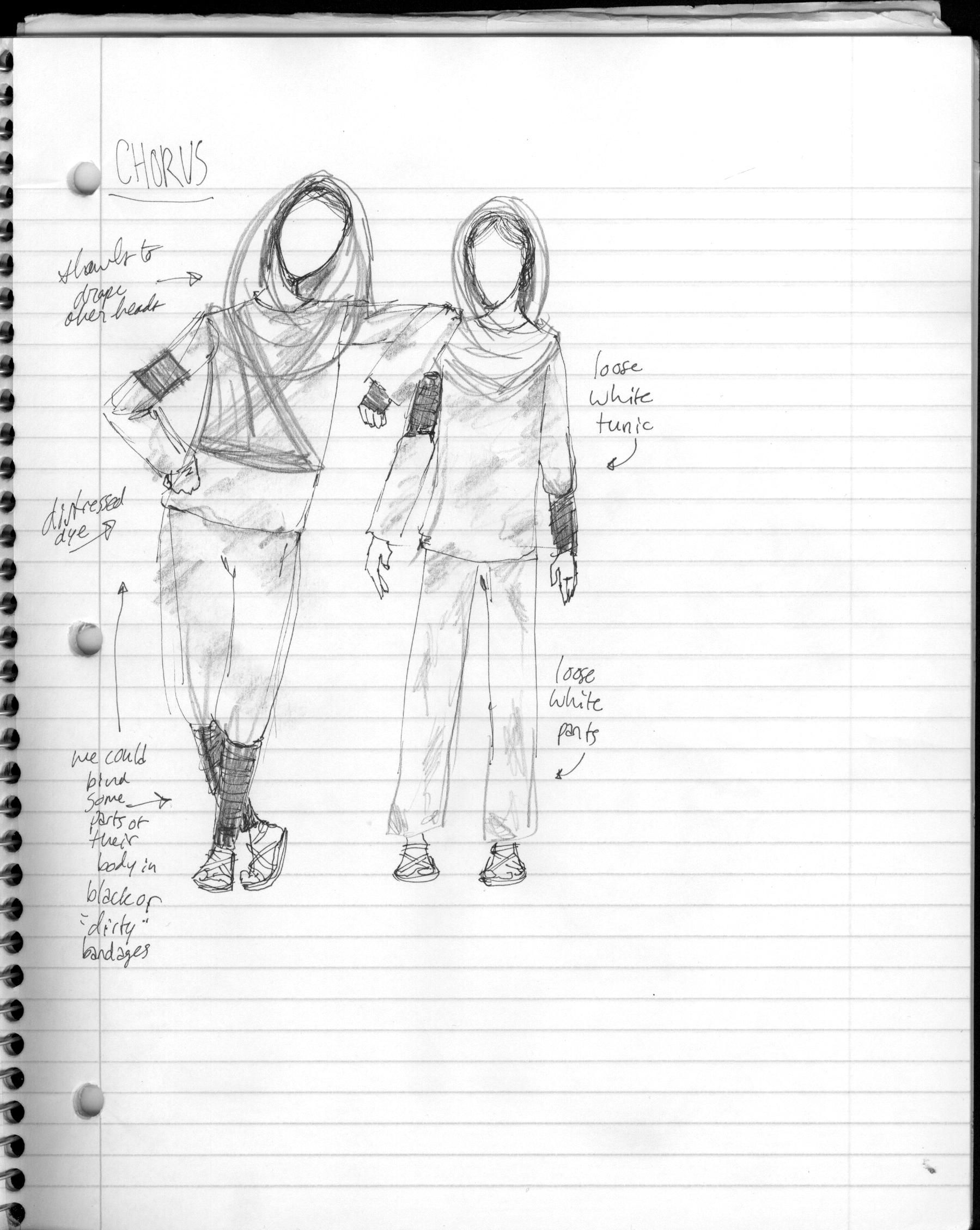 My Sketches Notes For Antigone Costume Design With