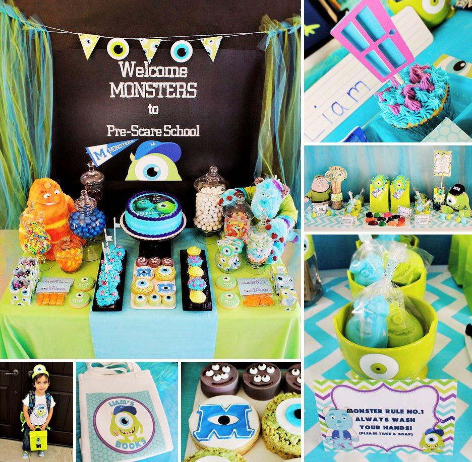 This Monsters University Pre-Scare Back to School Party by Michelle's Party Plan-It deserves an A+! #MonstersUniversity #BacktoSchool http://hwtm.me/13f2zCZ