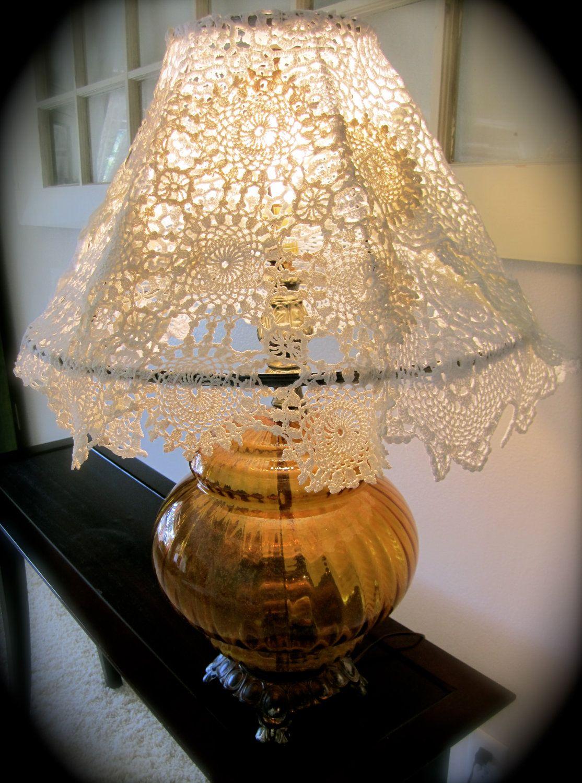doileys on lampshade | On SALE Handmade Crocheted Doily Lamp Shade On by TwiggsAndLace