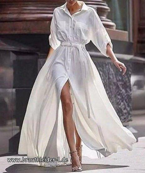 langarm blusenkleid für den standesamt in weiß lang (mit