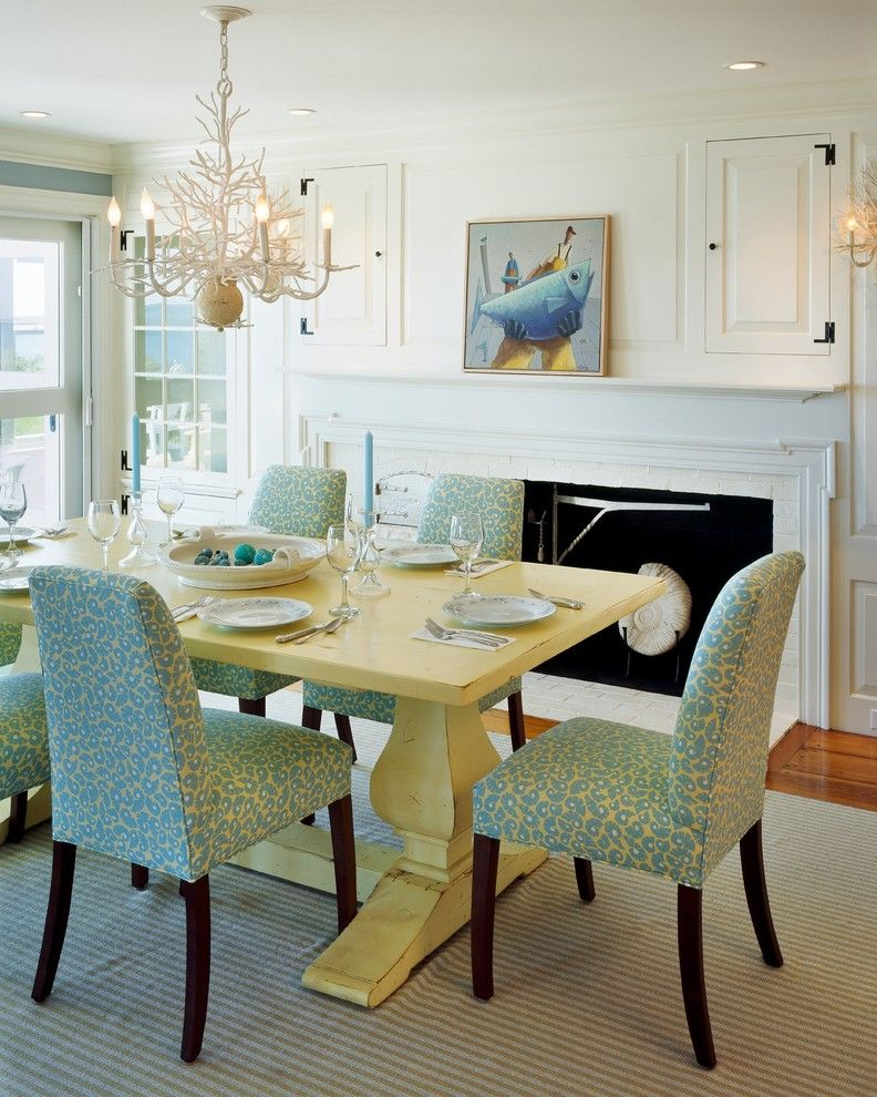 Painted Dining Table Room Beach With Aqua Coastal Coral Chandelier