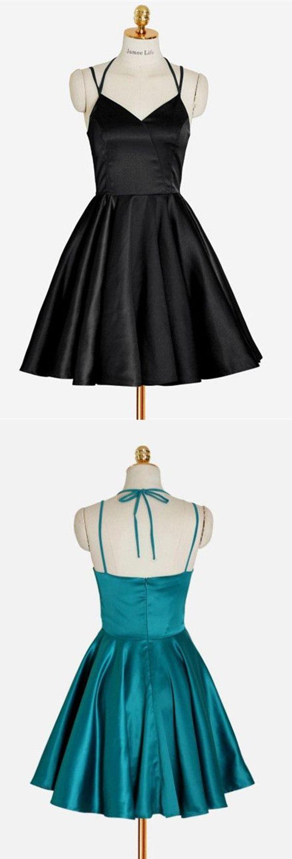 Aline straps crisscross straps short black satin homecoming dress