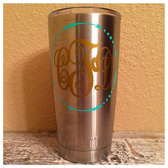 Circle Arrow Monogrammed Decal for YETI / RTIC by MotherMeI