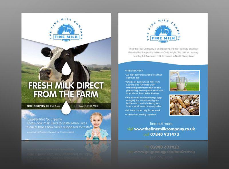 Fine milk delivery food drink leaflet design sample creative Milk